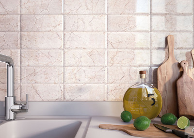 Roca Crema Marfil Subway Backsplash